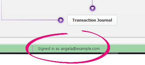 Signed-in MYOB account appears in the status bar