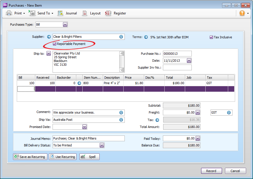 how to set up recurring transactions in myob