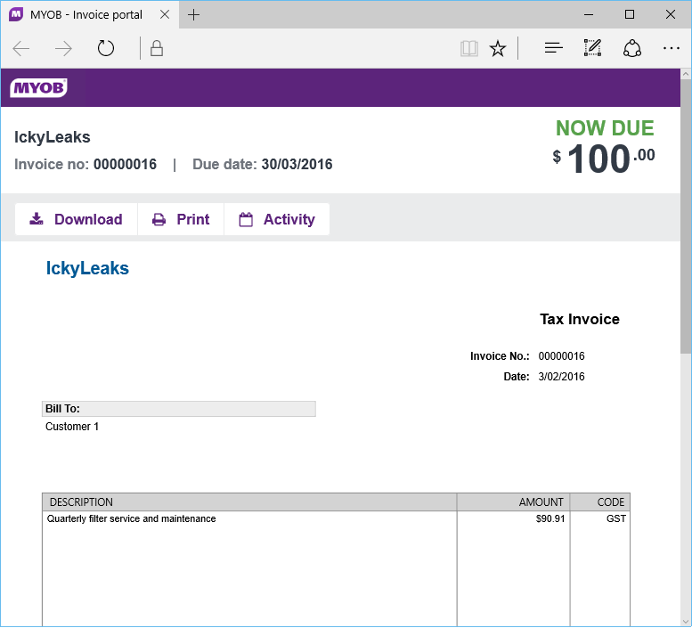 Accountright 20161 nz now available myob community for Chase online invoicing
