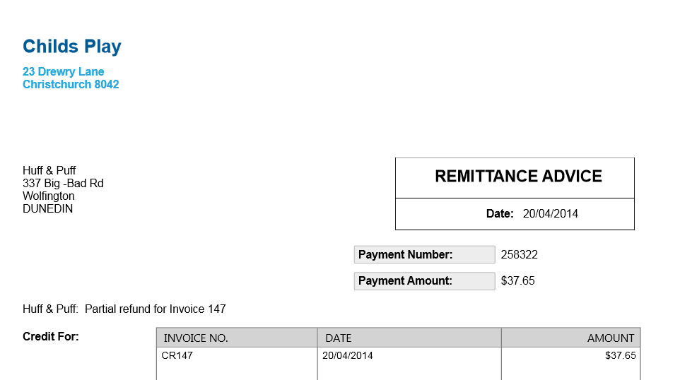 If You Have Customised The Remittance Advice Template You Need To Select  The One With Credit Refunds And Then It Will Pick Up The Information. Pertaining To Payment Advice Slip