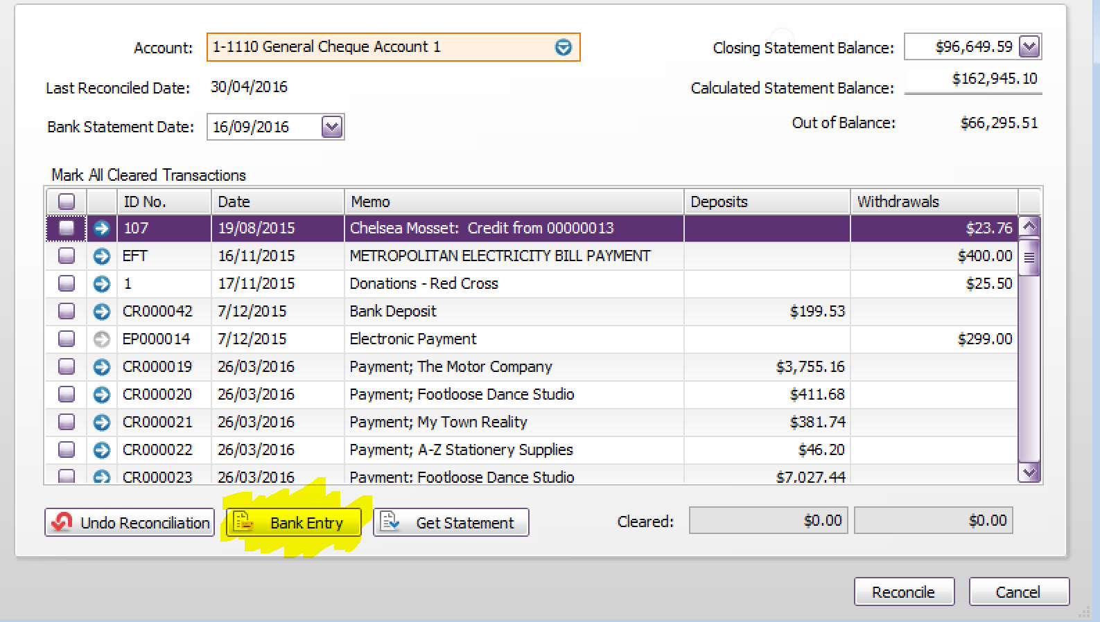 how to delete a bank loan transaction in myob