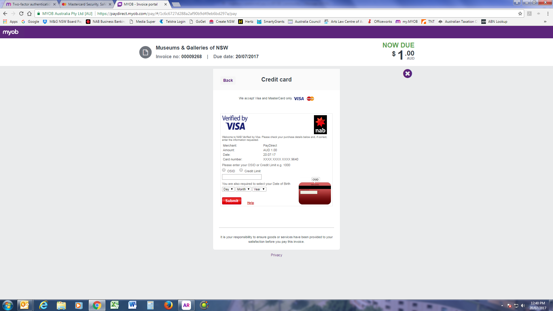 Solved: Customer Credit Card Payment - MYOB Community