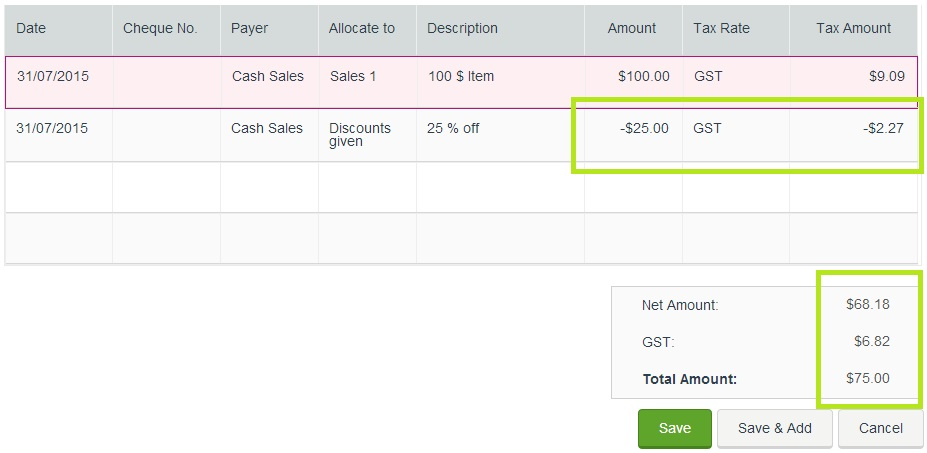 how to show discount given to customers myob community