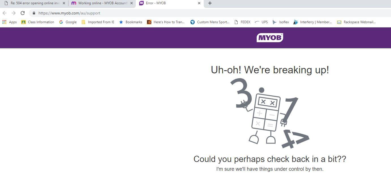 504 error opening online invoice - MYOB Community