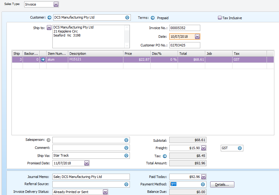 MYOB Invoice entered and paid.PNG