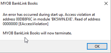 MYOB Banklink Books 2015 not loading access voilat    - MYOB