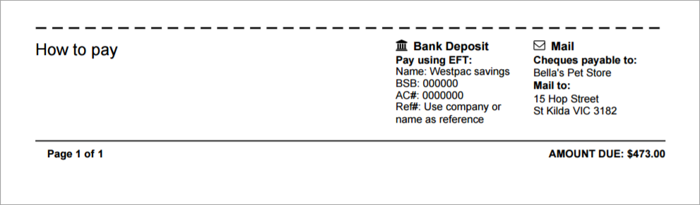 Your payment details now appear at the bottom of your customer statements.