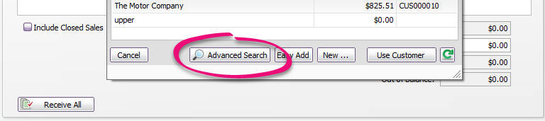Use the Advanced Search to find an open invoice