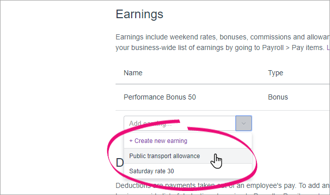Select from the dropdown list to add an existing pay item to an employee.
