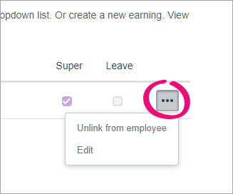 Click the ellipses button to unlink or edit a pay item.