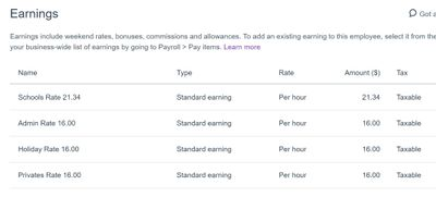 Employee earnings Privates Rate = 16