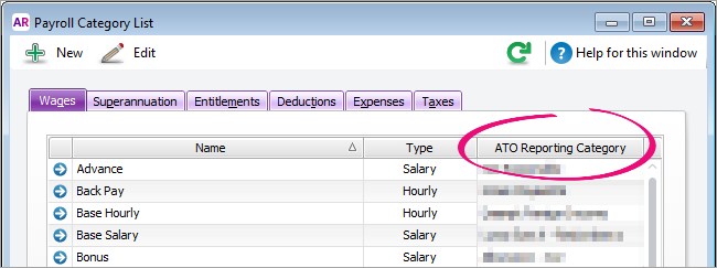 List of payroll categories