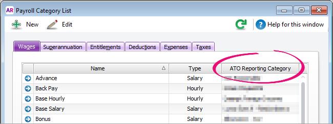 List of payroll categories