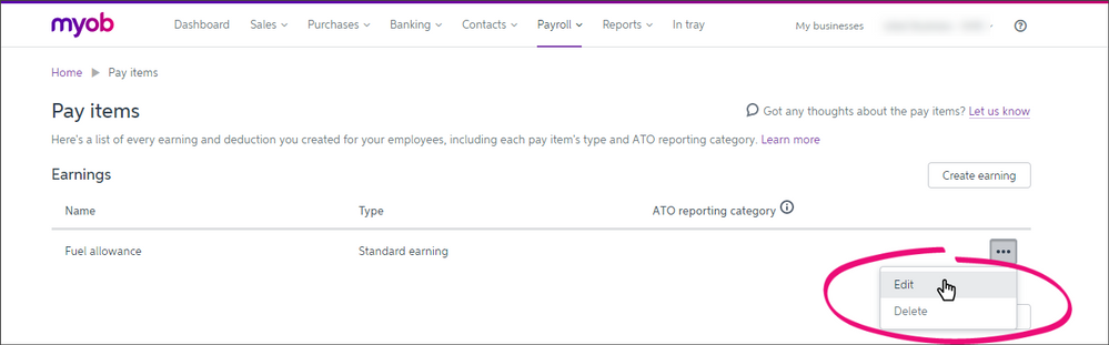 Edit or delete a pay items by clicking the ellipsis button and selection Edit or Delete.