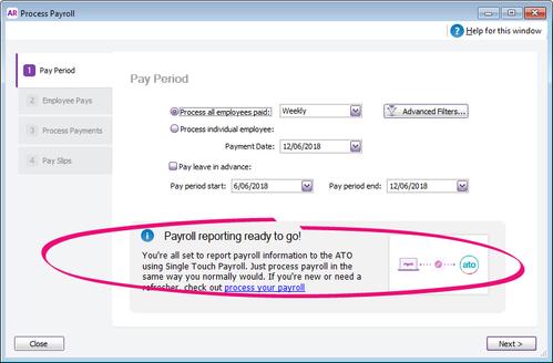 New payroll reporting info box