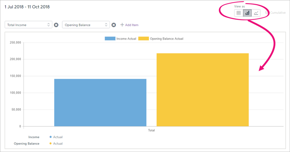 Choose to display the cash flow report as a bar or line graph.