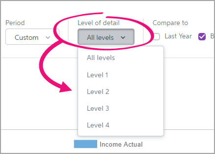 Choose which account header level you want to display.
