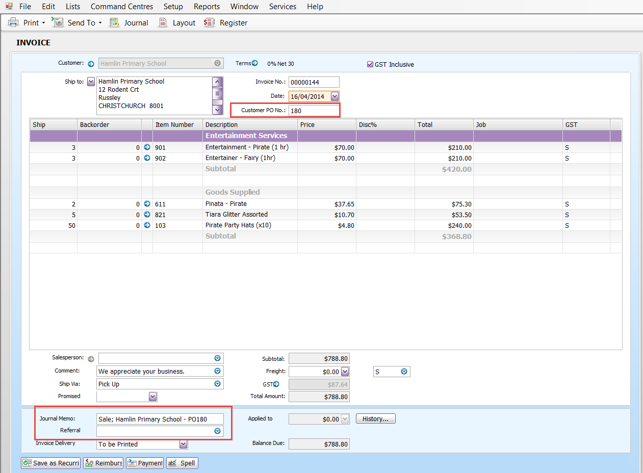 Purchase Order Numbers on Statements   MYOB Community