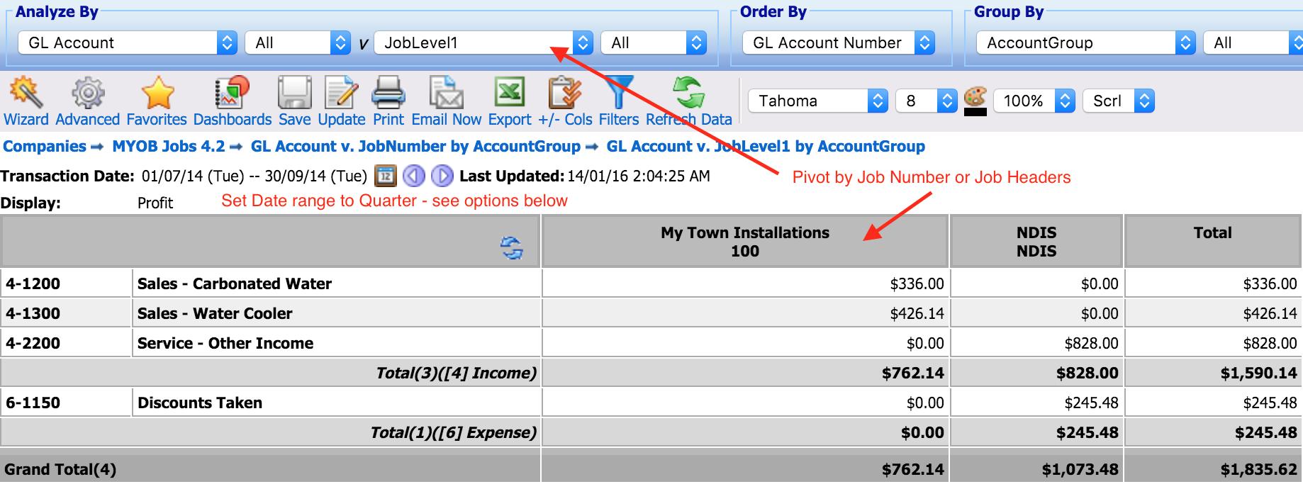 Report Job Profit & Loss by quarter - MYOB Community