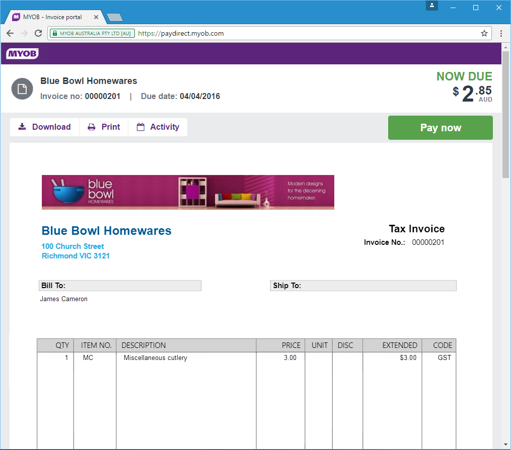 Blue Bowl Invoice