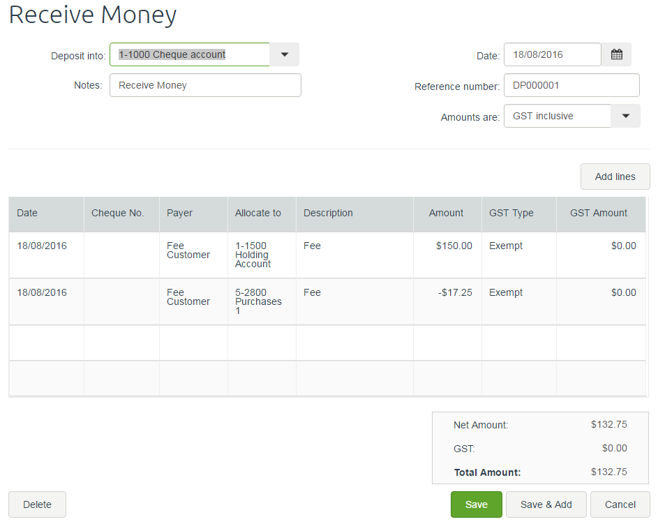 how to record money you receive from an invoice
