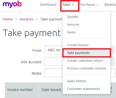 allocating customer part payments of invoices to c myob community