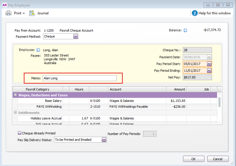 Solved: Cleared cheque detail on bank reconciliation - MYOB Community