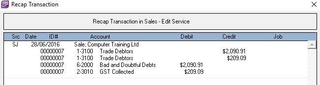 writing off a bad debt - MYOB Community