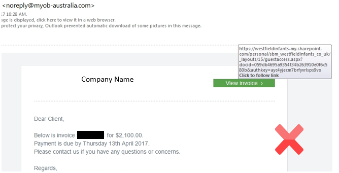 Warning Watch Out For Fake Spam Phishing Ema MYOB Community - Emailed invoice