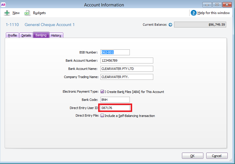 hsbc Direct Entry User ID - MYOB Community