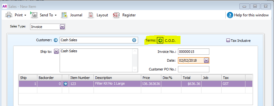 Solved: change the terms on sales invoice - MYOB Community