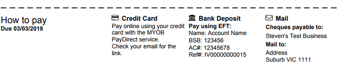 how to find bank details in myob
