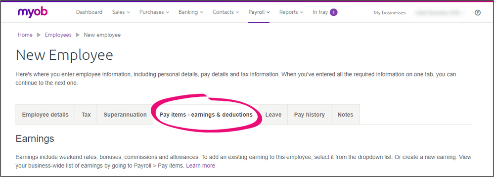 The new employee tab for your pay items.