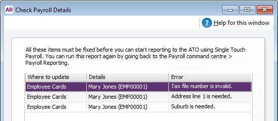 Check Payroll Details results