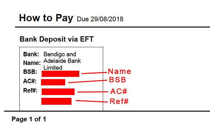 Invoice How To Pay Bank Details Do Not Align Cor MYOB Community - Invoice with bank details