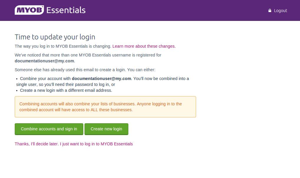 Updating your MYOB Essentials login - MYOB Community