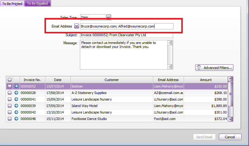 print email invoices option to cc email address a myob community