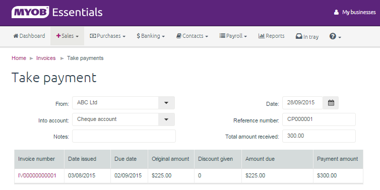 how to delete payments received myob essentials