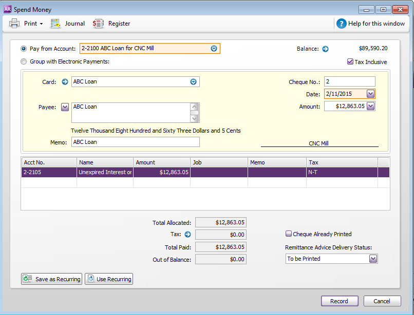Capital Purchases And Finance In AccountRight MYOB Community - Send invoice to customer journal entry