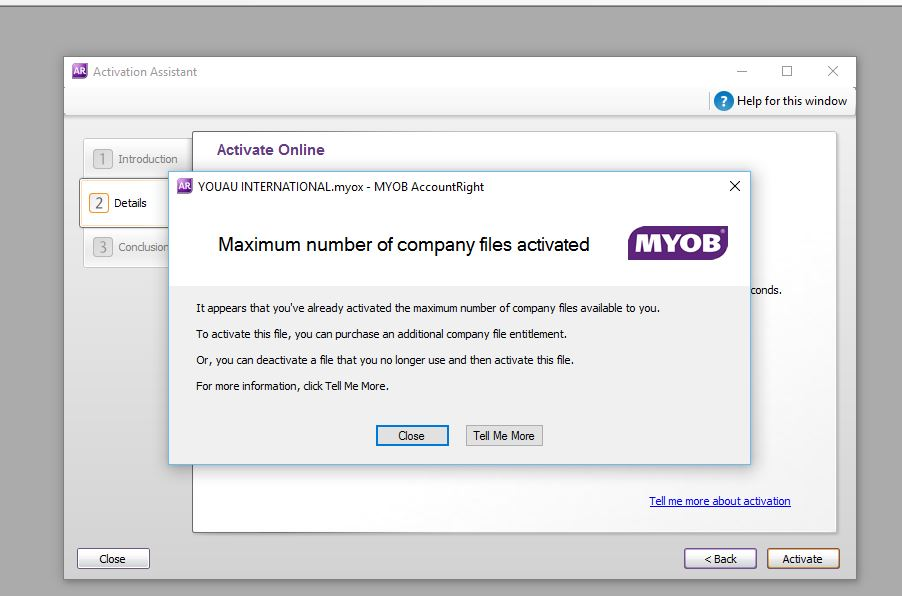 how to set up live for myob accountright